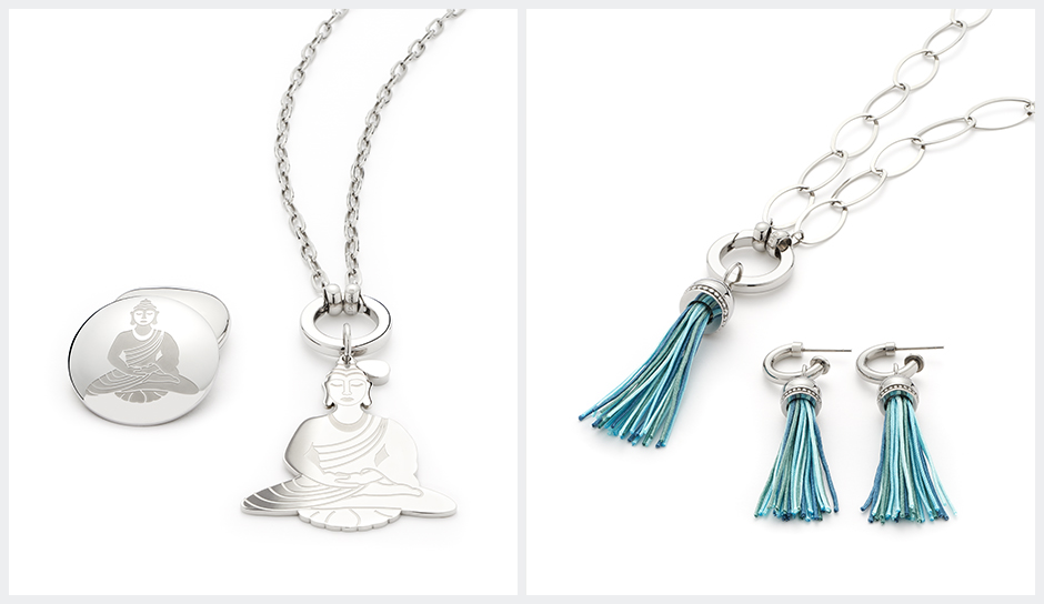 Aura3 silver shop uk buddha hindu blue tassels