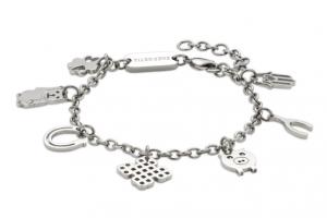 Lucky charm bracelet Aura3 Energetix 1. The four-leaved clover, 2. The waving Maneki Neko cat, 3. The horseshoe, 4. The Tibetan knot, 5. The lucky pig, 6. The wishbone and 7. Fatima's hand.