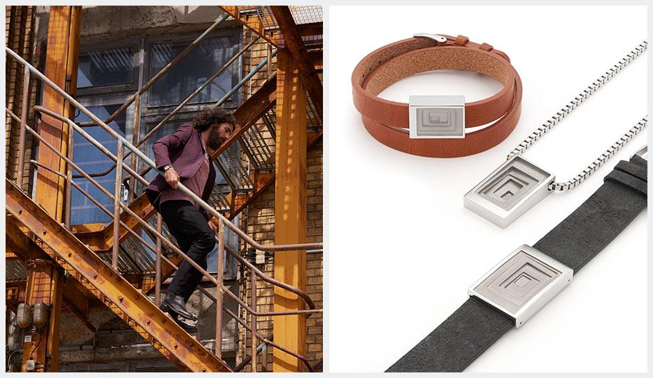 LEATHER IN FOCUS - Men's bracelet, necklace, pendant.